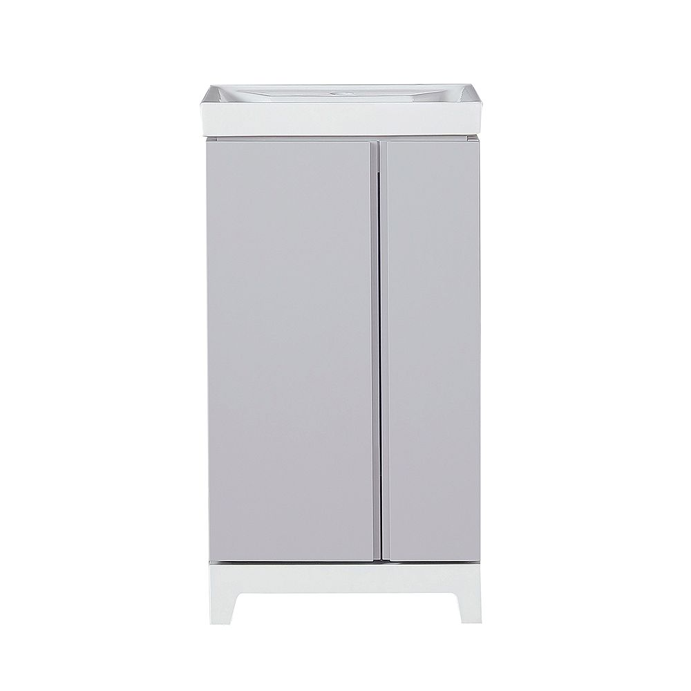 Home Decorators Collection Glovertown 18 Inch Grey Vanity Bathroom Cabinet The Home Depot Canada