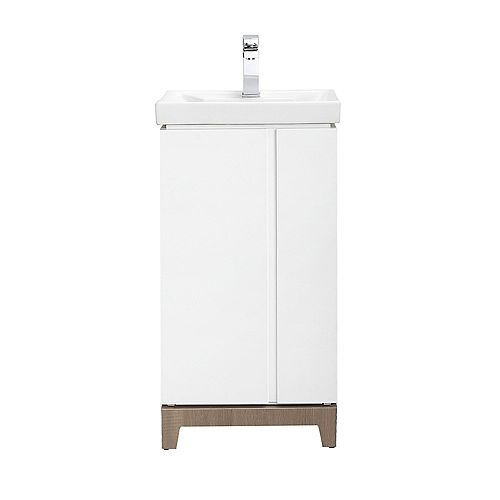 Home Decorators Collection Glovertown 18-inch x 14-inch D Vanity in High Gloss White with Ceramic Vanity Top in White with White Sink and Mirror