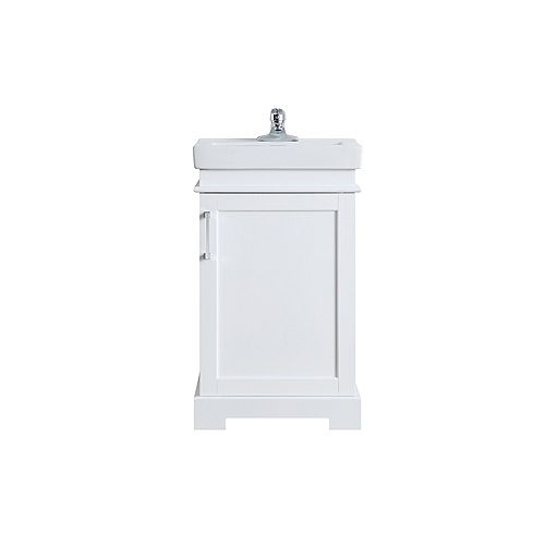 Hallcrest 20-inch Bathroom Vanity in White with White Basil and Mirror Included