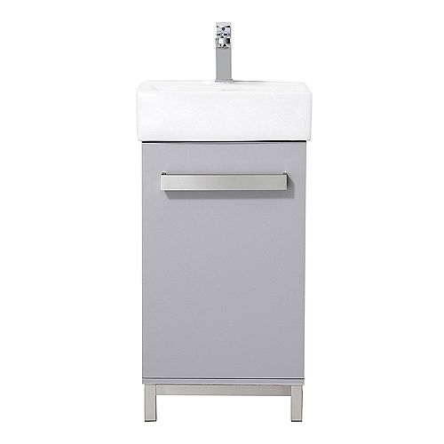 Maelynn 18-inch W x 12-inch D Vanity in Dove Grey with Ceramic Vanity Top in White with White Sink and Mirror