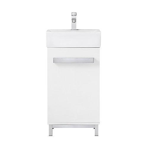 Meuble-lavabo de salle de bains avec lavabo blanc Maelynn, 18 po, blanc