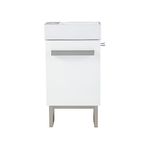 Woodmoore 19-inch W x 10-inch D Vanity in Gloss White with Integrated Vanity Top in White with White Sink and Mirror