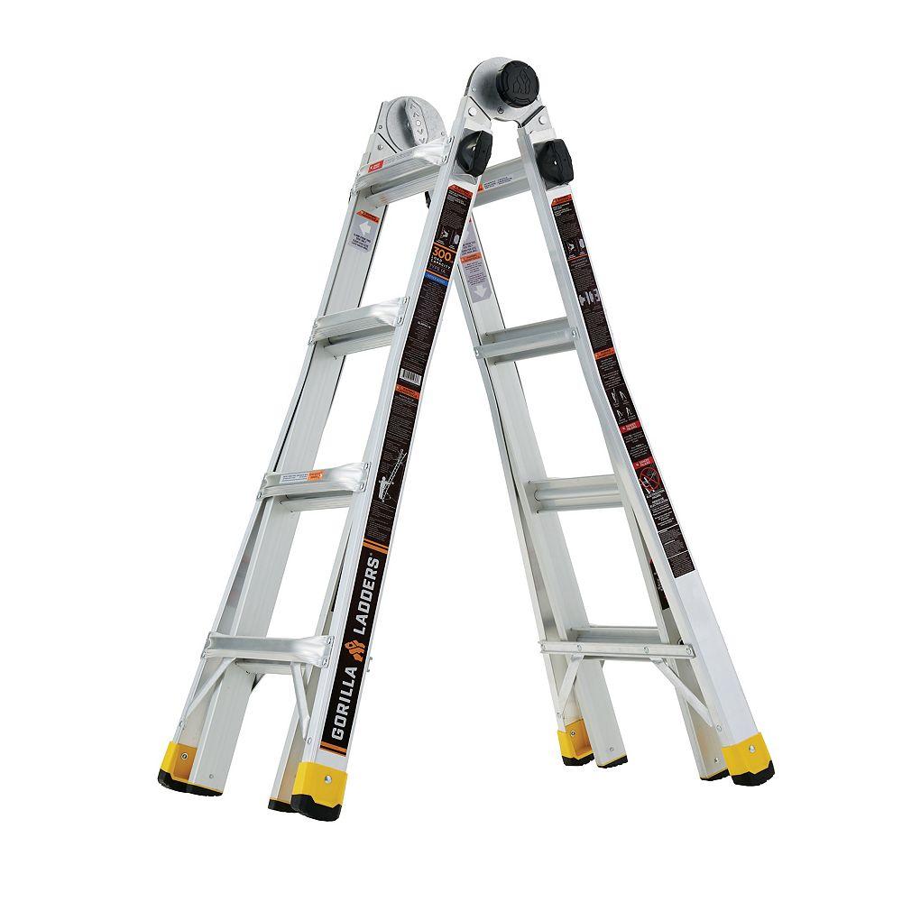 Gorilla Ladders Échelle MPX en aluminium à positions multiples, d'une portée de 5,49 m