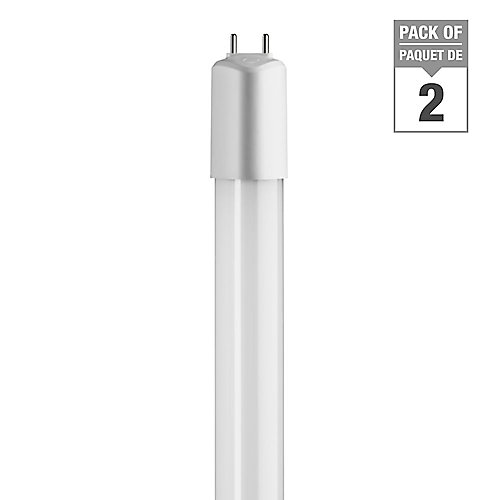 16W Cool White (4000K) 48-inch T8/T12 Dimmable Linear LED Tube Light Bulb (2-Pack)