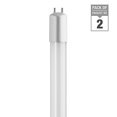 16W Daylight (5000K) 48-inch T8/T12 Dimmable Linear LED Tube Light Bulb (2-Pack)