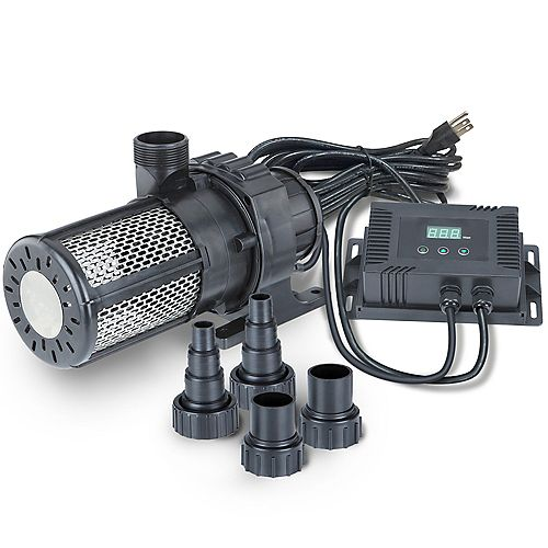 5000gph Pond / Waterfall Pro-Grade Pump, External Power Regulator, Super Efficiency, 33-foot Cord