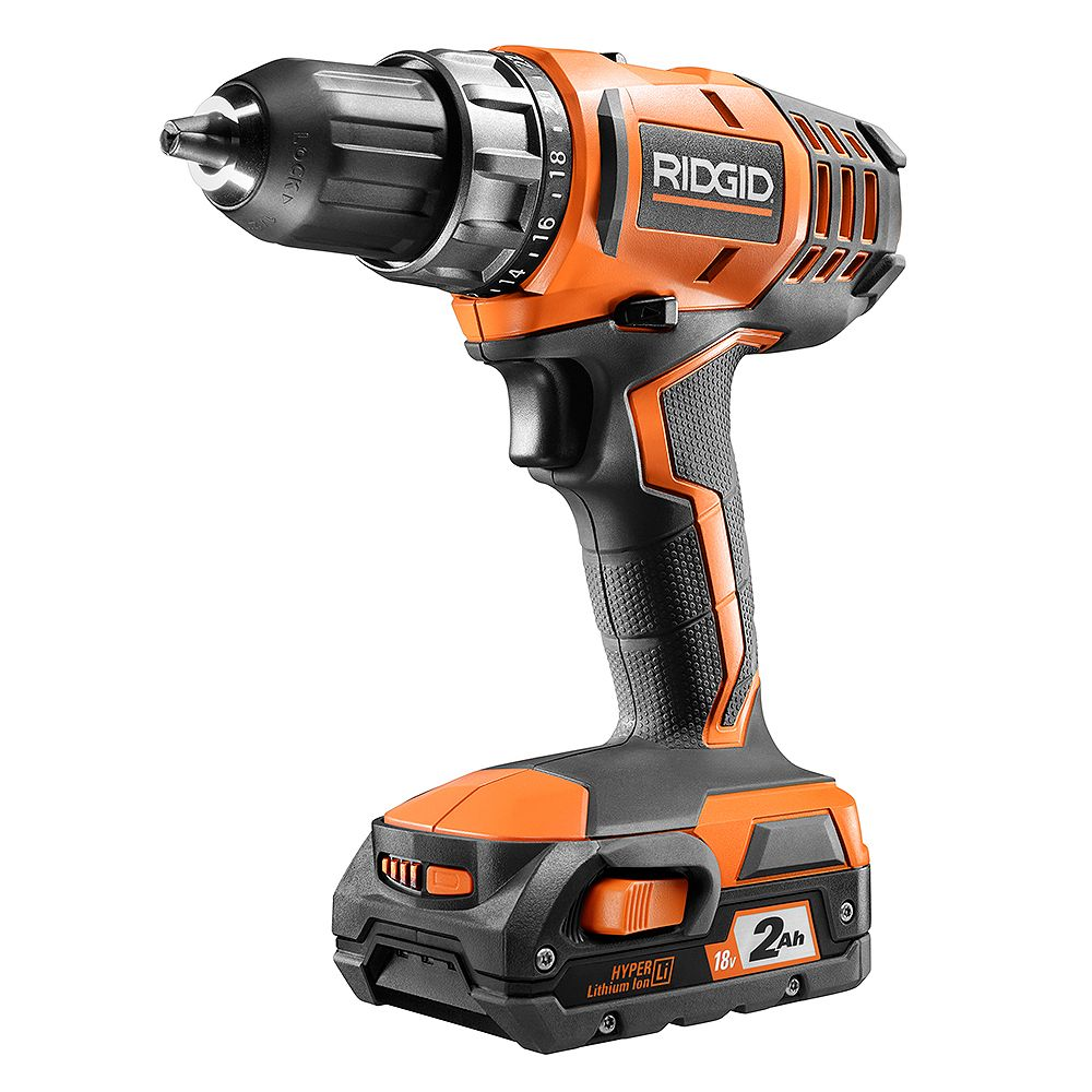 RIDGID 18V Lithium-Ion Cordless 2-Speed 1/2 -inch Compact Drill/Driver Kit with 2.0 Ah Battery