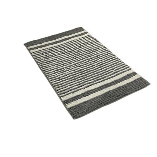 HDG Striped Grey and White 20-inch x 32-inch and 17-inch x 24-inch Chenille Bath Mats (Set of 2)