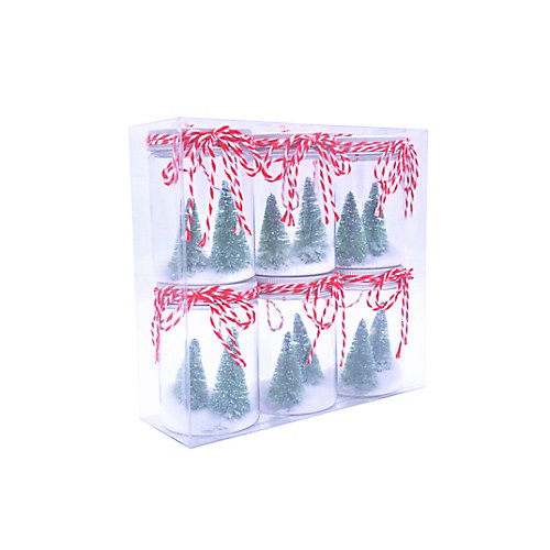 80mm Mini Trees Jar Christmas Ornament (6-Pack)
