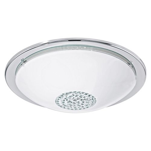 Giolina-LED Ceiling Light, Chrome Finish with White Glass and Clear Crystals