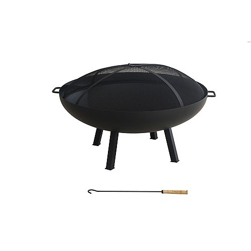 Hampton Bay Windgate 40-inch Dia Round Steel Wood Burning Fire Pit with Spark Guard