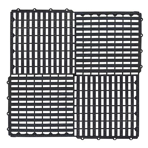 Black 12-inch x 12-inch Multy Tile (Pack of 10)