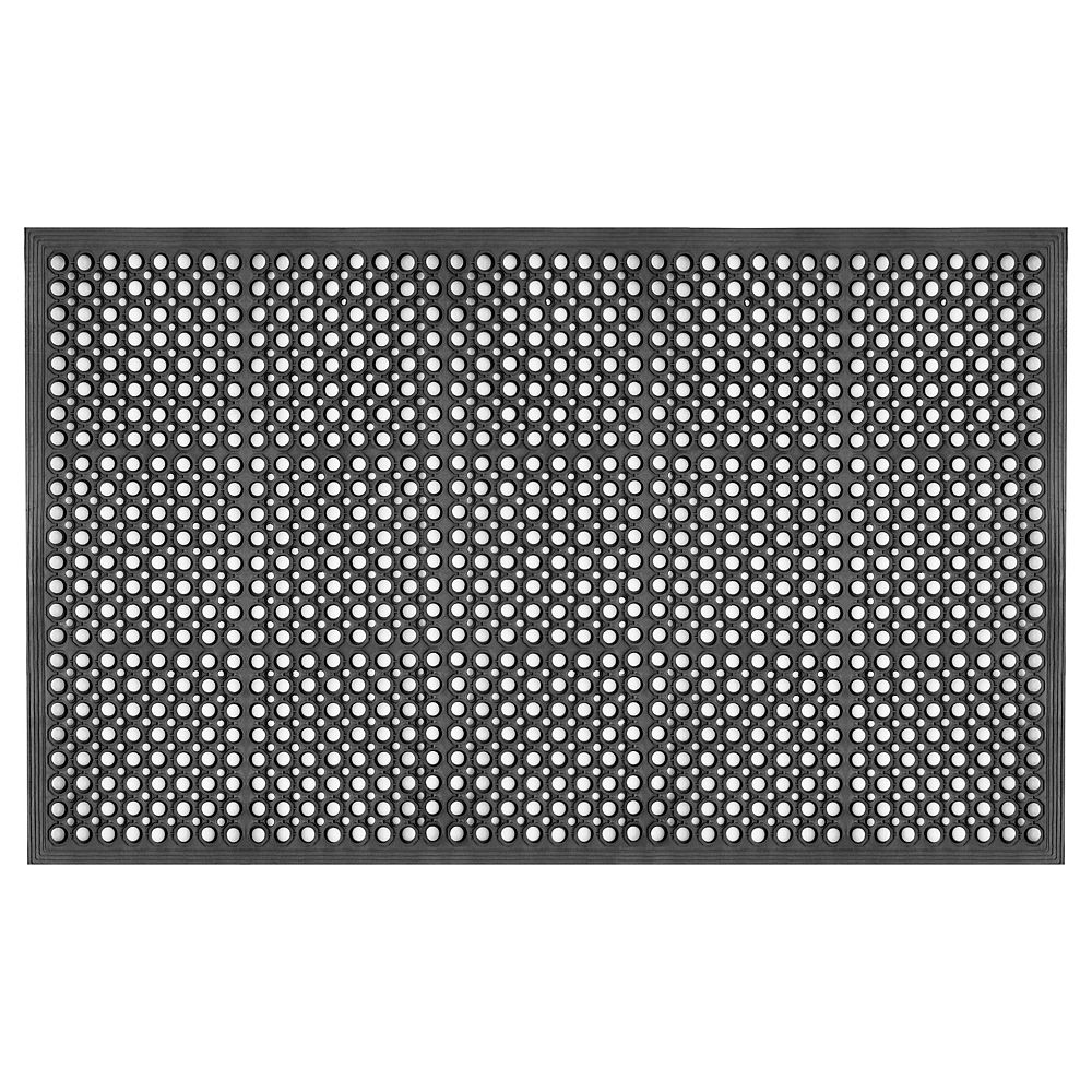 Multy Home Black 3 ft. x 5 ft. Heavy Duty Rubber Ramp Mat with Drainage Holes