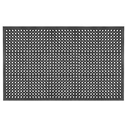 Black 3 ft. x 5 ft. Heavy Duty Rubber Ramp Mat with Drainage Holes
