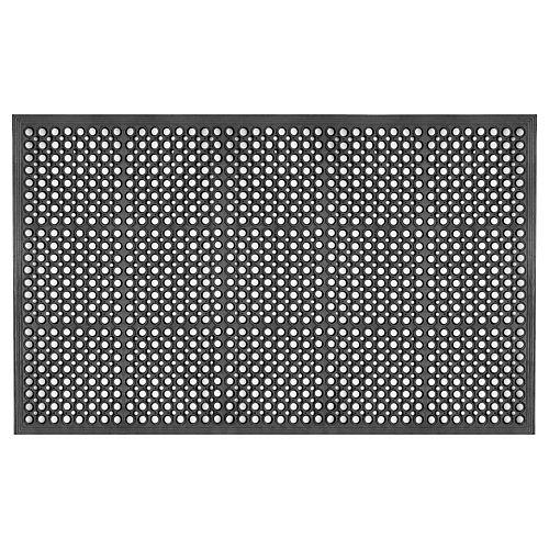 Paillasson commercial à rampe et trous de drainage en caoutchouc, 3 pi x 5 pi, noir