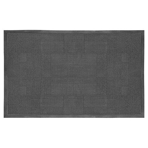"""Paillasson commercial rectangulaire en caoutchouc, 3 pi x 5 pi, motif """"à pointes"""", noir"""