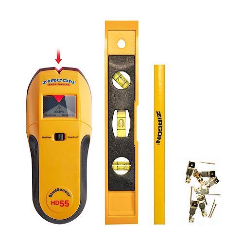Stud Sensor HD55 Stud Finder with Bonus Level, Picture Hanging Kit and Carpenters Pencil