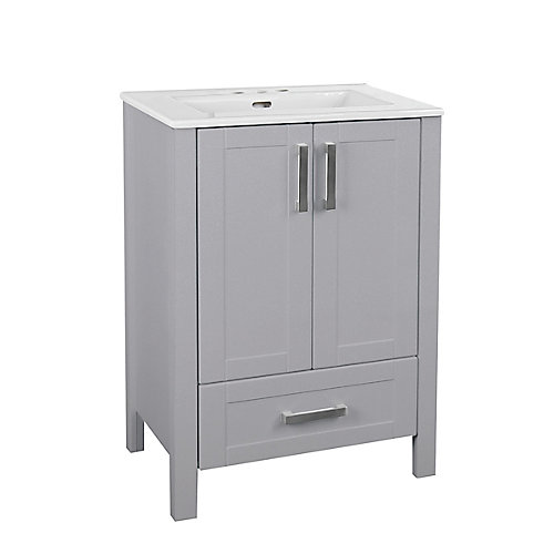 Delchester 24-inch Vanity in Grey with Thin Ceramic Top