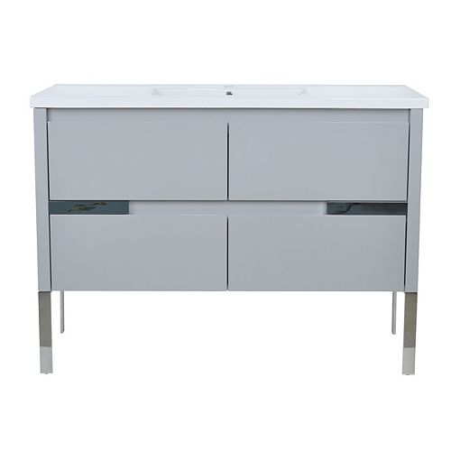 LUKX Modo David 48 inch Vanity Set in the colour Parisian Grey with White Ceramic Top