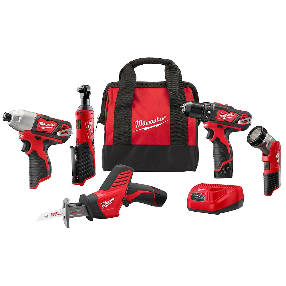 Milwaukee Tool M12 12V Lithium-Ion Cordless Combo Kit (5-Tool) w/ (2) 1.5Ah Batteries, Charger and Tool Bag