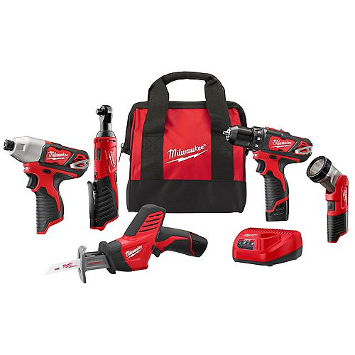 M12 12V Lithium-Ion Cordless Combo Kit (5-Tool) w/ (2) 1.5Ah Batteries, Charger and Tool Bag