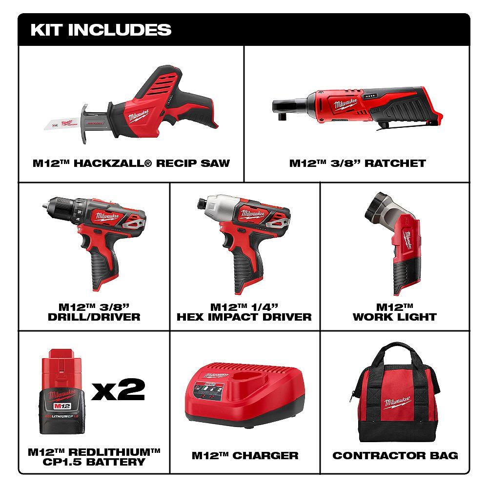 NEW ! Milwaukee 2498-25 M12 12V Cordless Combo Kit Drill Impact Ratchet 5-Tool