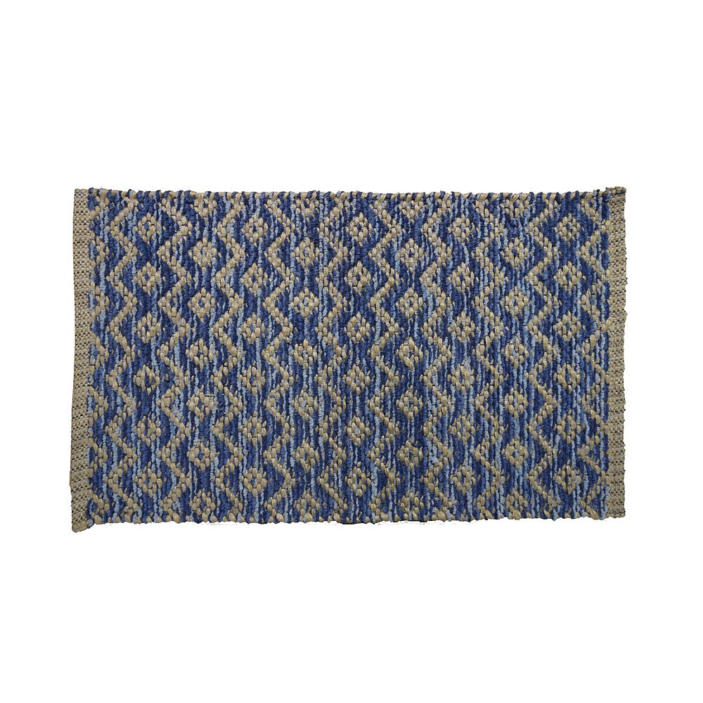 Lanart Rug Chenille Lace 18-inch X 30-inch Blue Indoor Mat