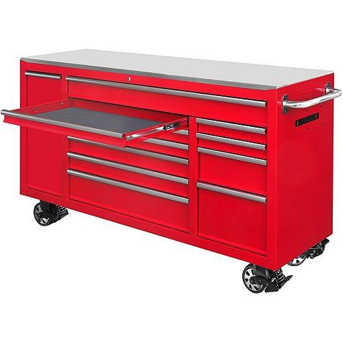 72 inch 12-Drawer Mobile Workbench in Red