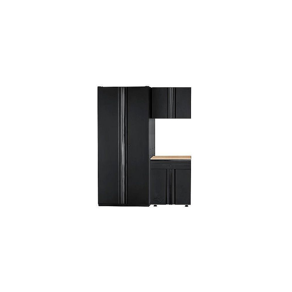 Husky Ensemble d'armoires de garage, acier soudé ultrarésistant, 64 po l x 81 po H x 24 po P, ens. de 3
