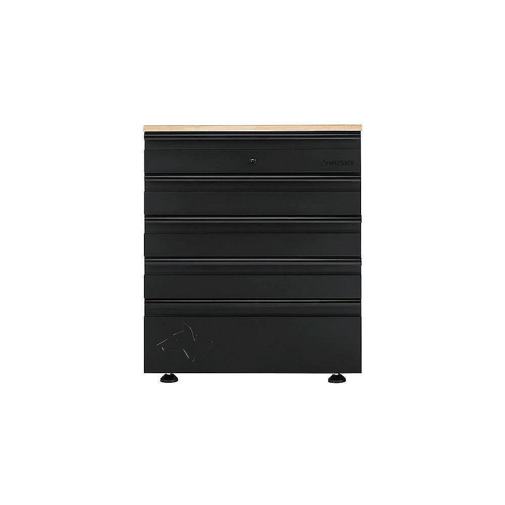 Husky Heavy Duty Welded 28-inch W x 36-inch H x 21.5-inch D Steel Garage 5-Drawer Base Cabinet