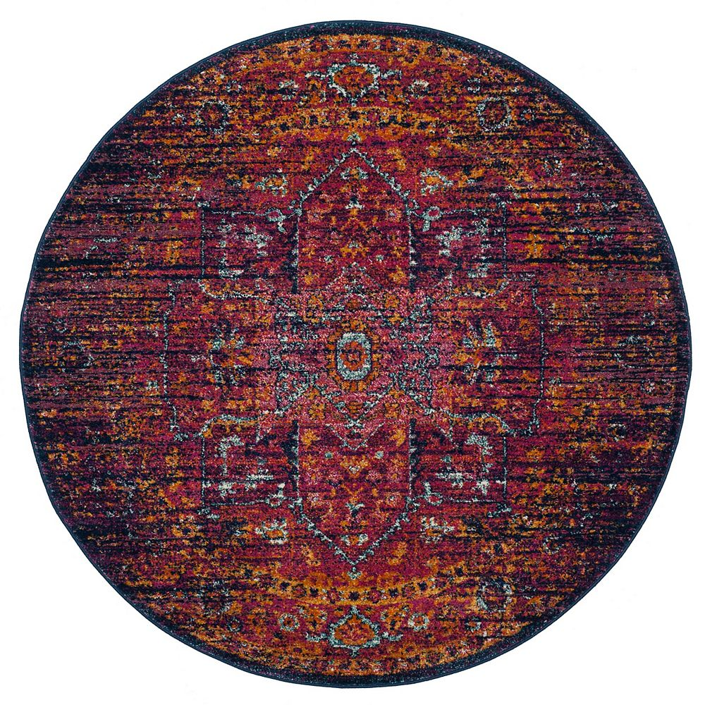 Safavieh Evoke Watson Blue / Fuchsia 6 ft. 7-inch X 6 ft. 7-inch Round Area Rug