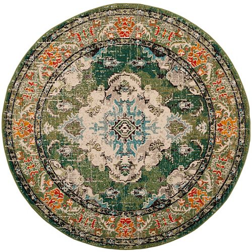 Monaco Moses Forest Green / Light Blue 3 ft. X 3 ft. Round Area Rug