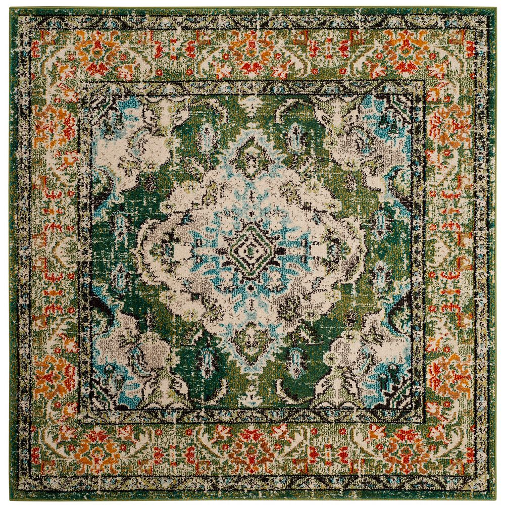 Safavieh Monaco Moses Forest Green / Light Blue 5 ft. X 5 ft. Square Area Rug