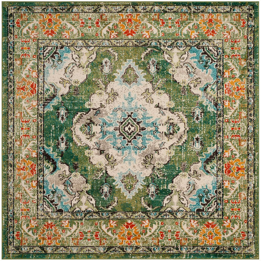 Safavieh Monaco Moses Forest Green / Light Blue 6 ft. 7-inch X 6 ft. 7-inch Square Area Rug