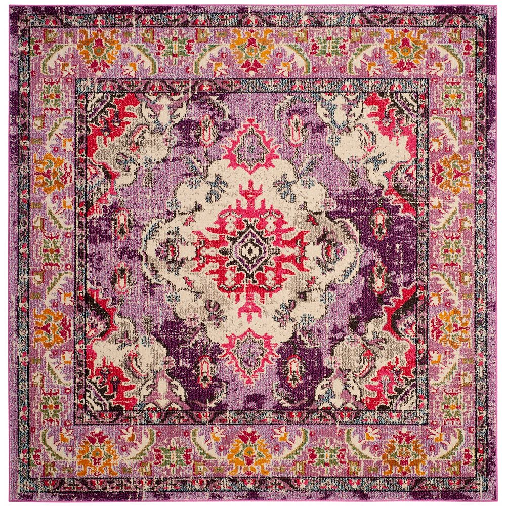 Safavieh Monaco Moses Violet / Fuchsia 6 ft. 7-inch X 6 ft. 7-inch Square Area Rug