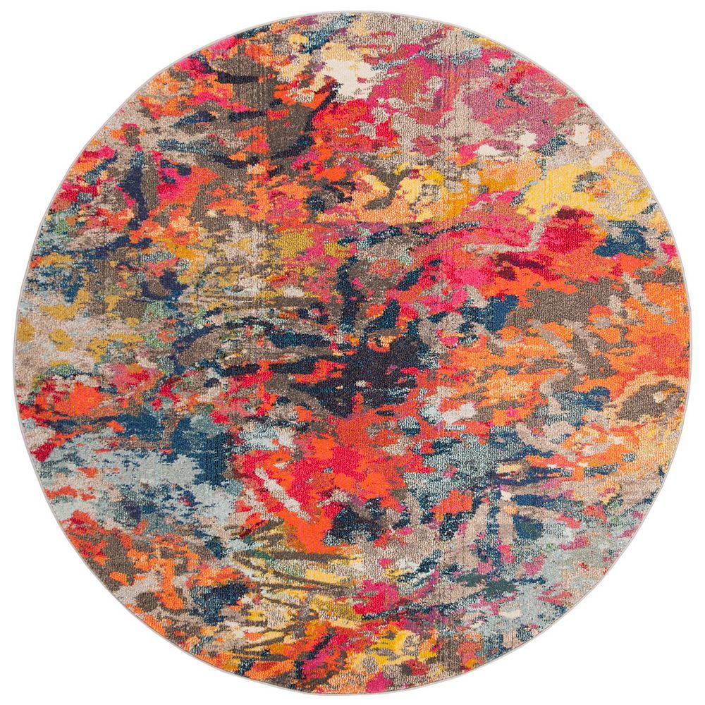 Safavieh Monaco Vana Blue / Orange 6 ft. 7-inch X 6 ft. 7-inch Round Area Rug