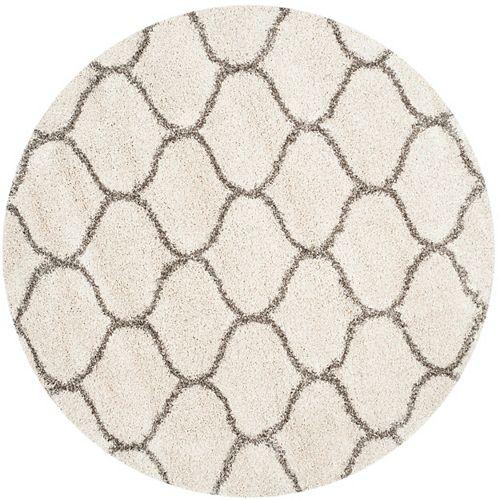 Safavieh Tapis d'intérieur rond, 8 pi x 8 pi, Hudson Shag Juan, ivoire / gris
