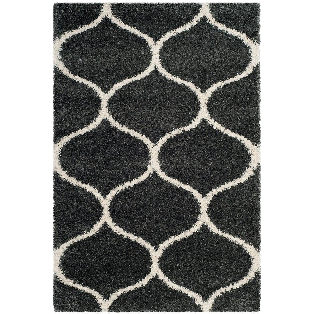 Safavieh Hudson Shag Juan Dark Grey / Ivory 4 ft. X 6 ft. Area Rug