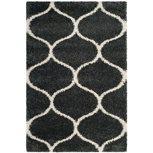 Safavieh Hudson Shag Juan Dark Grey / Ivory 4 ft. X 6 ft. Area Rug