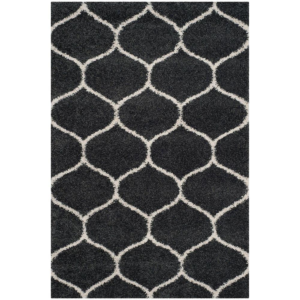 Safavieh Hudson Shag Juan Dark Grey / Ivory 5 ft. 1-inch X 7 ft. 6-inch Area Rug