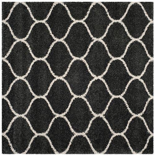 Safavieh Hudson Shag Juan Dark Grey / Ivory 7 ft. X 7 ft. Square Area Rug