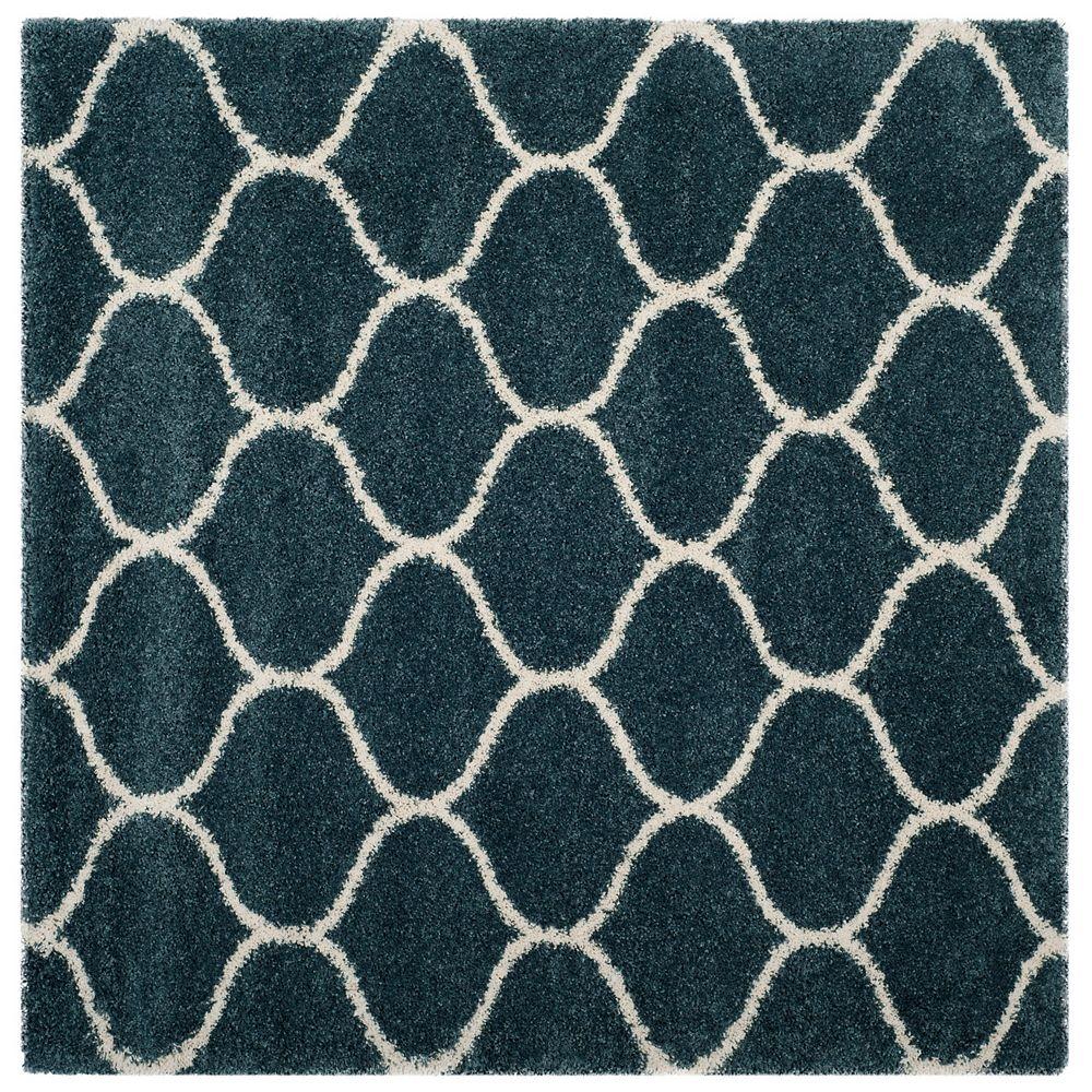 Safavieh Hudson Shag Juan Slate Blue / Ivory 7 ft. X 7 ft. Square Area Rug