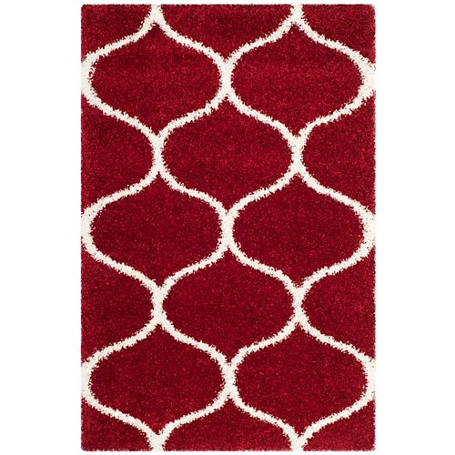 Safavieh Hudson Shag Juan Red / Ivory 4 ft. X 6 ft. Area Rug