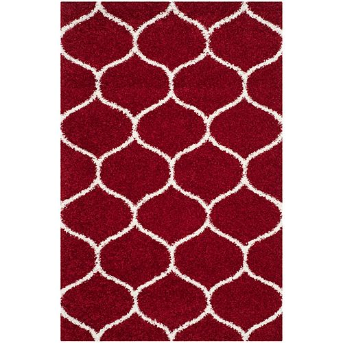 Safavieh Hudson Shag Juan Red / Ivory 5 ft. 1-inch X 7 ft. 6-inch Area Rug