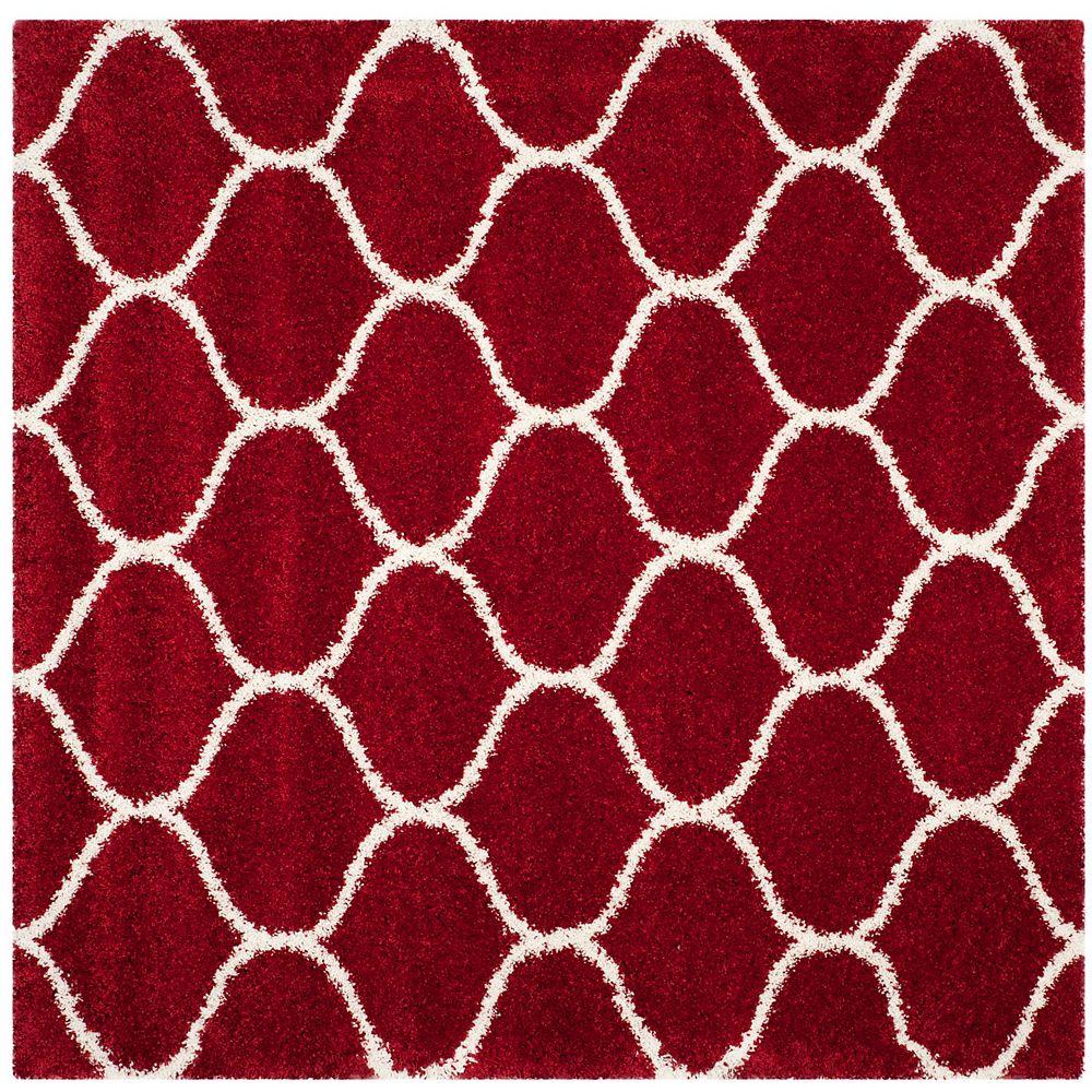Safavieh Hudson Shag Juan Red / Ivory 7 ft. X 7 ft. Square Area Rug