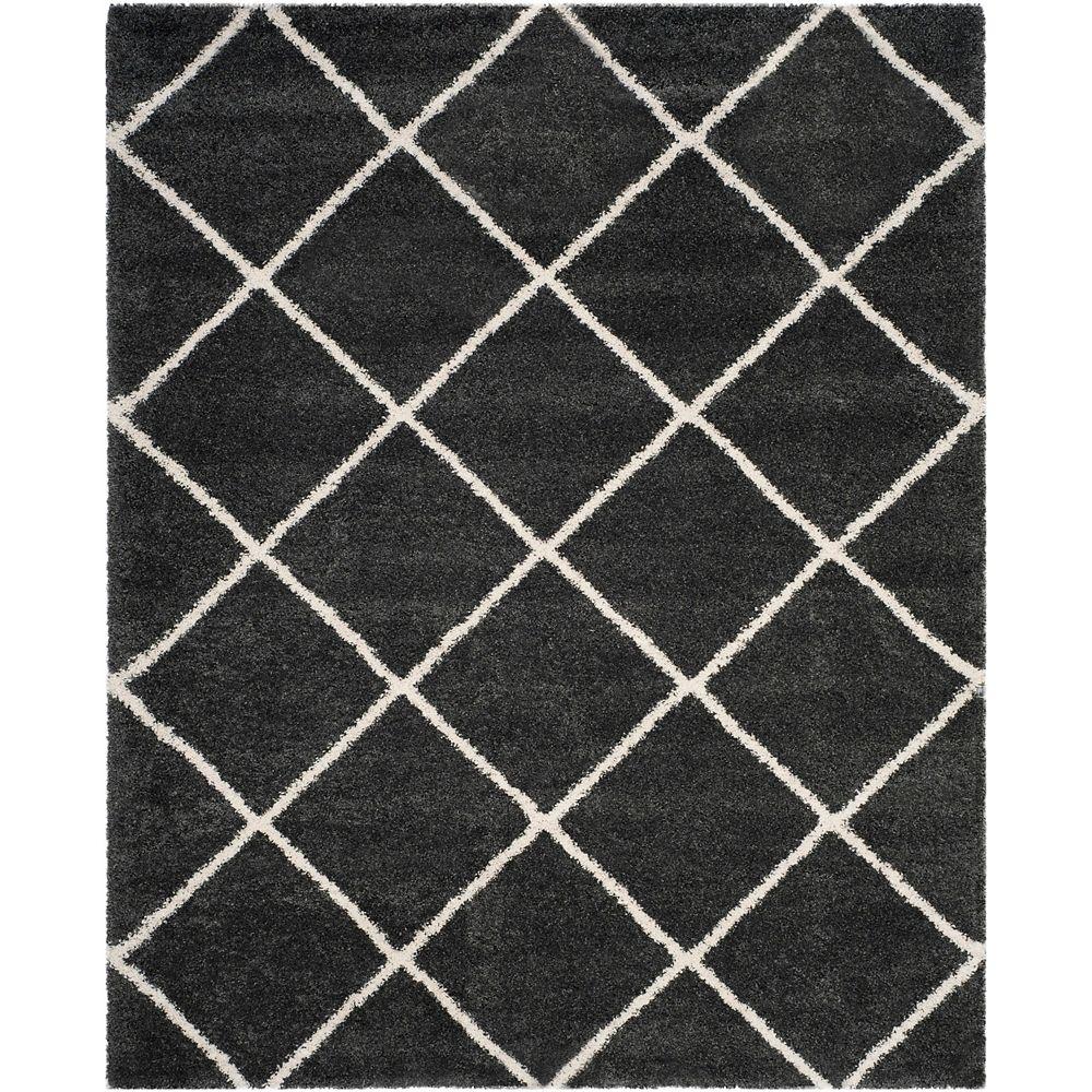 Safavieh Hudson Shag Stewart Dark Grey / Ivory 8 ft. X 10 ft. Area Rug
