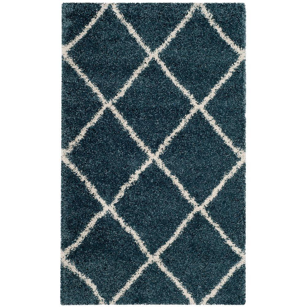 Safavieh Hudson Shag Stewart Slate Blue / Ivory 2 ft. 3-inch X 3 ft. 9-inch Area Rug