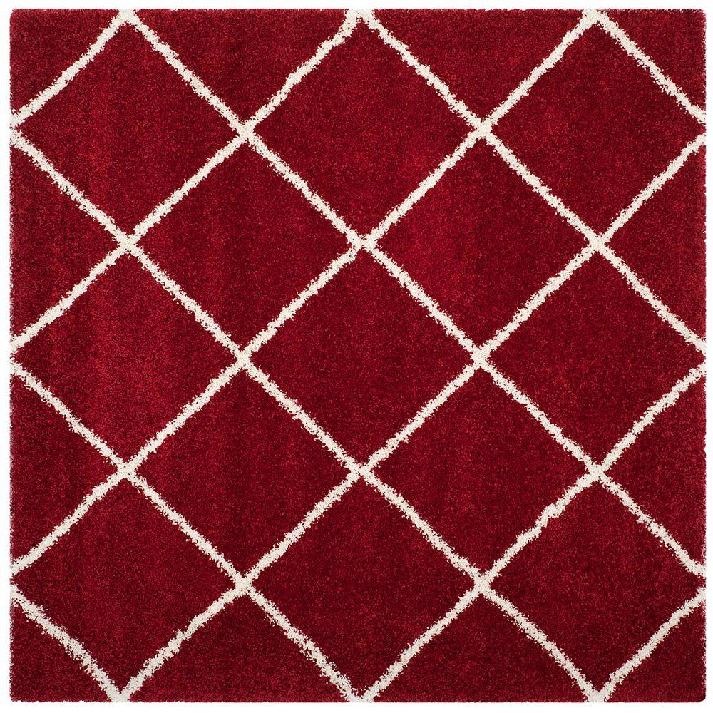 Safavieh Tapis d'intérieur carré, 7 pi x 7 pi, Hudson Shag Stewart, rouge / ivoire