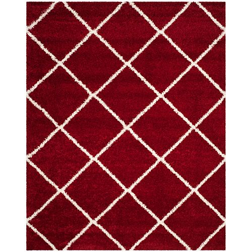 Safavieh Tapis d'intérieur, 8 pi x 10 pi, Hudson Shag Stewart, rouge / ivoire