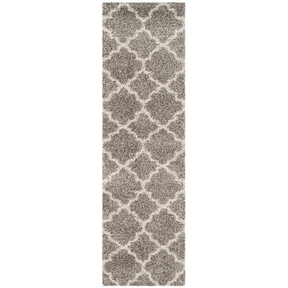 Safavieh Tapis de passage d'intérieur, 2 pi 3 po x 6 pi, Hudson Shag Eliot, gris / ivoire